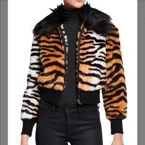 Adrienne Landau zebra print faux fur bomber coat